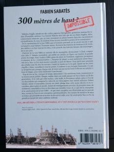 Quatrième de couverture du livre J'ai construit la Tour en fer de Fabien Sabatès. Editions Douin